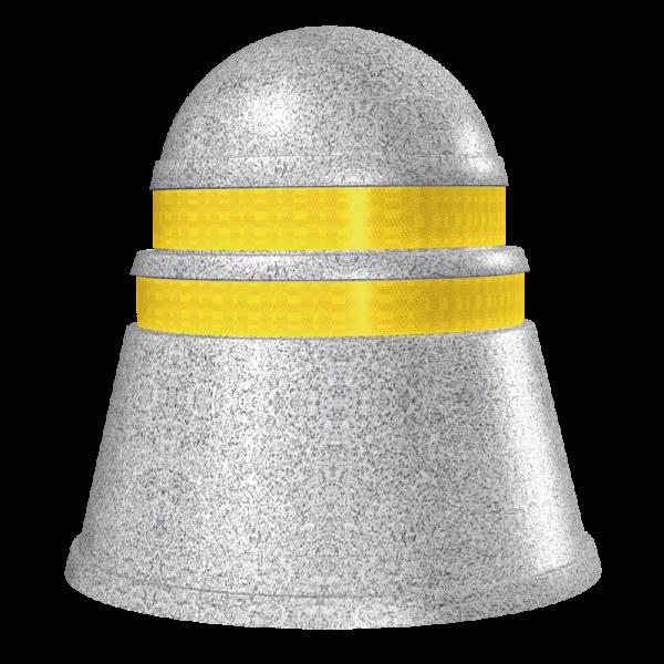 Código: ABS-100 Fabricado en material flexible con protección para rayos UV. Accesorio vial preventivo que brinda un toque de modernidad, adecuado para colocarse en áreas verdes o diferentes zonas en camellones o avenidas. En impactos fuertes absorbe parte de la colisión. Con bandas de reflejante que ayudan a mejorar su visibilidad durante la noche. Estructura sólida con relleno de arena. Medidas: Diámetro: 100.0 cm. Altura: 90.0 cm. Colores: amarillo o granito Reflejante: blanco o ámbar.