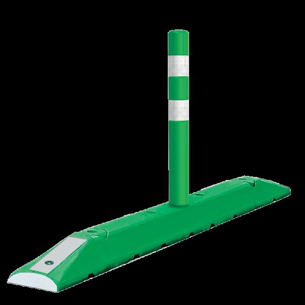 Código: B-150-C Canalizador de tres piezas ensamblables para carriles de ciclopistas, metrobús o contraflujos. Especial para contraflujo y canalización de tránsito. Con la resistencia para soportar impactos y atropellamientos. Bandas de reflejante tipo alta intensidad en los cabezales que lo hacen visible durante lo noche, brindando mayor protección al ciclista y conductor. Con opción a llevar Hito flexible de Vitemflex® Fabricado en polietileno de alta densidad con U.V. Medidas: Largo total: 165.0 cm. Largo utilizable: 151.0 cm. Ancho: 22.0 cm. Alto: 13.0 cm. Color: amarillo, verde, negro. Reflejante: blanco o ámbar.