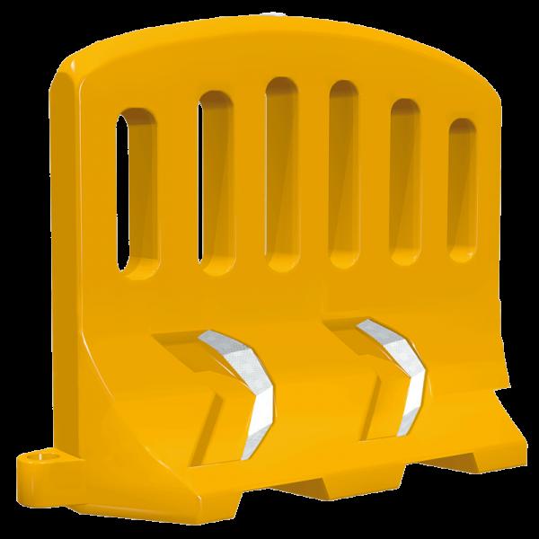 Código: BA-1500 Barrera adecuada para contener multitudes en conciertos, manifestaciones, etc., o para restringir zonas específicas. Sistema de anclaje que las mantiene fuertemente unidas entre si. Por su altura y forma son difíciles de saltar. Puede emplearse también como barrera central en obras viales funcionando como un excelente antideslumbrante. Cuenta con dos chevrones en bajo relieve visibles desde tres ángulos distintos. Se le puede agregar agua hasta la marca de nível para hacerla más pesada. Fabricada en polietileno de media densidad con U.V. Medidas: Largo: 150.0 cm. Alto: 120.0 cm. Ancho: 42.0 cm. Colores: Amarillo, azul y naranja Reflejante: blanco o ámbar.