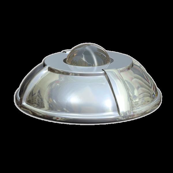 Código: BA-180 Boya con diseño que rompe los estándares, llevando elegancia en los lugares donde sea colocada. Incluye esfera de vidrio templado reflejante, visible desde cualquier punto por donde reciba iluminación. Fabricada en aluminio inyectado. Medidas: Diámetro: 18.0 cm., Alto: 5.5 cm.
