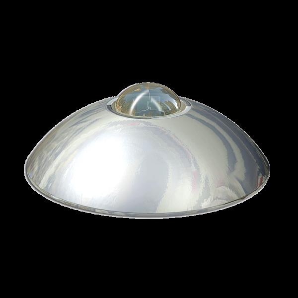 Código: BACI-ES-135 Botones fabricados en acero inoxidable lámina calibre 18, ideales para estacionamientos de lujo y cuya cualidad principal es la esfera de vidrio templado cuya incidencia de luz es visible desde cualquier ángulo logrando una reflectividad total. Perno de ABS opcional. Medidas: Diámetro: 13.5 cm. Alto: 4.0 cm.