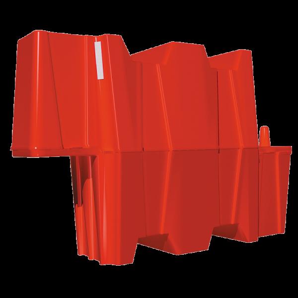 Código: BP-130 Su principal cualidad es ser totalmente apilable lo que significa hasta un 90% de ahorro en gastos de transportación y almacenaje, es muy fácil y rápido de instalar. Con sistema de ensamble que permite unir varias barrera entre si y formar cuadriláteros o círculos. Para incrementar el peso sólo hay que agregar arena hasta el nível marcado. Fabricada en polietileno de alta densidad con U.V. Soporta lastres diversos. Medidas: Largo: 130.0 cm. Alto: 80.0 cm. Ancho: 40.0 cm. Color: Naranja, rojo.