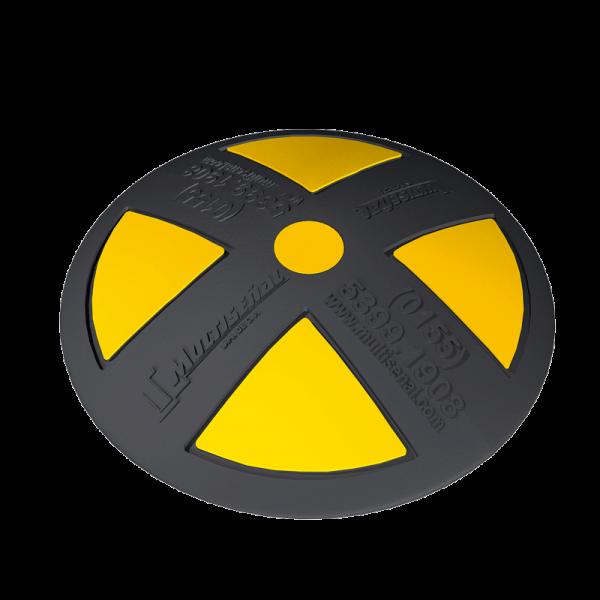 Código: BPVC-22 Boya indeformable fabricada de PVC, ideal para usarse como canalizador en vías de doble sentido o en lugares donde no exista barrera central. De baja fricción en los neumáticos, con una altura óptima. Colores firmes de gran visibilidad que no se decoloran. Para anclar al piso. Cuatro triángulos amarillos. Medidas: Diámetro: 21.5 cm., Alto: 5.0 cm. Reflejante: Amarillo o blanco.