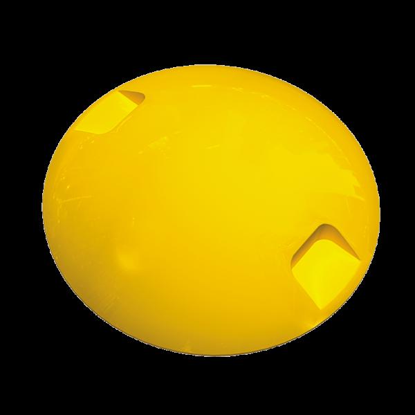Código: BT-ABS Económico botón adecuado para usarse como guía en estacionamientos o delimitar zonas de baja velocidad, ideal para señalar zonas peatonales, cruces y vueltas. Fabricado en ABS de alta resistencia con U.V. Medidas: Diámetro: 10.1 cm. Alto: 2.1 cm. Colores: blanco y amarillo.
