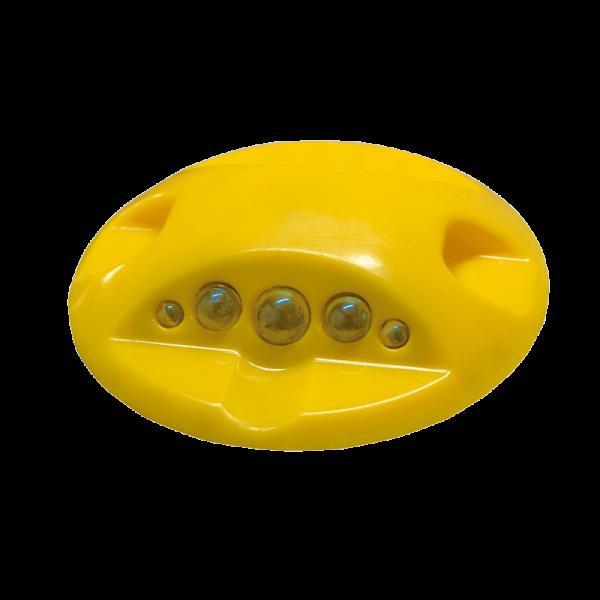 Código: BT-MUL Diseñado para aplicarse como canalizador o delimitador en carreteras, estacionamientos, calles, avenidas, ciclopistas, pasos peatonales, cruces, vueltas, etc. Una o dos caras de esferas de alta reflectividad. Fabricado de plástico ABS. Alta resistencia a impactos. Perno opcional. Medidas: Diámetro: 10.0 cm. Alto: 2.0 cm. Color: blanco y amarillo. Esferas reflejantes: blanco, ámbar, rojo o azul.
