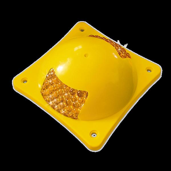 Código: BY-ES 32 esferas reflejantes por lado hacen de la boya multiesfera la más visible en cualquier lugar que se instale. Altura y forma que ofrece baja fricción en los neumáticos. Fabricada en ABS con U.V. Una o dos caras. Cuerpo amarillo. Medidas: Largo: 19.5 cm. Ancho: 19.5 cm. Alto: 7.5 cm. Diámetro: 17.5 cm. Esferas reflejantes: blanco, ámbar o rojo.
