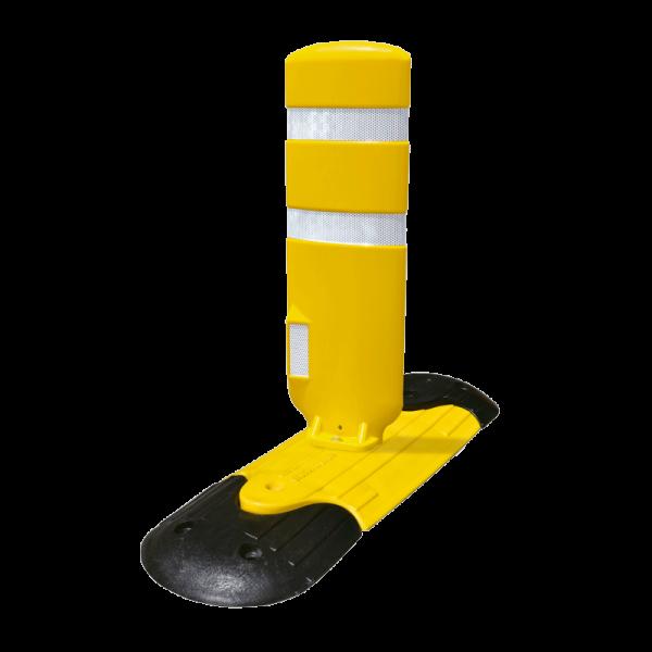 Código: CAN-TRI-894 Moderno y resistente canalizador, especial para colocarse en todo tipo de vialidades. Consta de tres piezas ensamblables mas una paleta flexible fabricada de Poliflexy, con opción a llevar reflejante. Para su completo desempeño se recomienda instalarlos con tornillos y taquete reforzado. Medidas: Extremos: 28.0 cm de largo. Módulo : 45.0 cm. de extensión. Módulo: 56.0 cm. largo total. Ancho: 30.0 cm. Altura total: 4.5 cm. Paleta: Largo: 22.3 cm. Alto: 65.0 cm. Ancho: 6.5 cm Colores: negro y amarillo. Paleta: Naranja o verde Reflejante: blanco o ámbar.