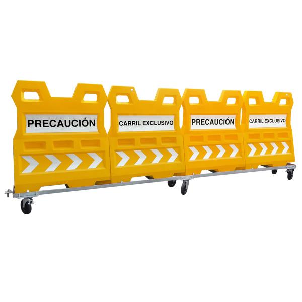 Codigo: CONV-GALAXY Serie de 4 barreras GALAXY; unidas una con otra y arrastradas por un carrito de metal, única en su tipo, versátil ya que se puede llenar de agua, arena o usar vacía; fácil de manipular, gracias a su enganche exclusivo. Ideal para encauzar al tránsito, delimitar grandes extensiones de zonas en construcción o líneas de respeto. Poseen gran estabilidad y firmeza en su desempeño diario. Medidas: Largo: 509.0cm Alto: 170.0 cm. Ancho: 54.7 cm. Color de línea: Naranja (se puede fabricar en otros colores a consideración del cliente)