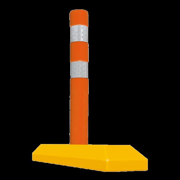 Código: ICV-81 En lugares donde se requiera de mayor seguridad para canalizar se recomienda el uso del Hito canalizador, debido a su altura y las tres bandas reflejantes es totalmente visible desde cualquier ángulo. De uso en carreteras de doble sentido o carriles de metrobús. Fabricado en plástico flexible. Como opción puede instalarse con base redonda con diseño escalonado la cual no daña las llantas de los vehículos en caso de ser atropellada. Medidas: Alto del Hito: 81.0 cm. Con tope de 81.0 ó 51.0 cm. Reflejante: blanco o ámbar.