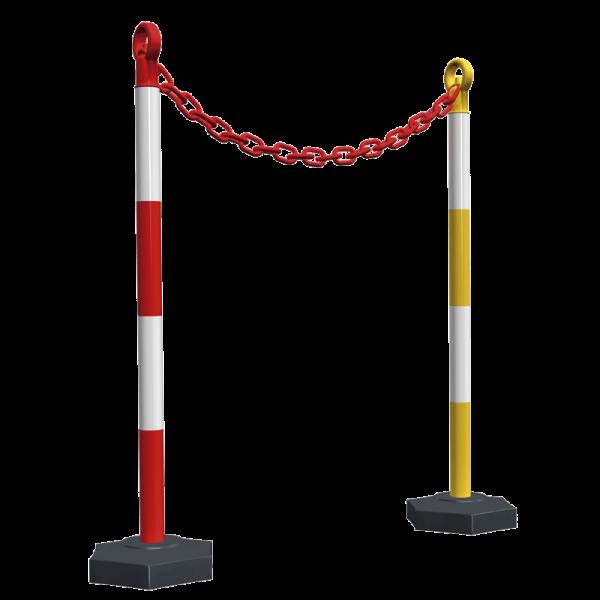 Código: P-BC Fabricado en plástico tratado contra rayos U.V. Poste de seguridad para delimitar zonas de forma rápida y sencilla, funcional para crear filas en restaurantes, bases de taxis y paraderos, también usados para restringir el acceso en áreas de riesgo. Base rellenable que le da estabilidad contra el viento o impactos. Al ser modular facilita sea transportado y almacenado. No incluye cadena plástica. Medidas: Base hexagonal: 31.0 cm. por lado. Altura: 99.0 cm. Colores: Blanco con rojo. Blanco con amarillo. Base en negro con Lastre