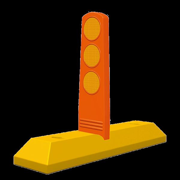 Código: TPL-70 Diseñado especialmente para colocarse en contraflujos o avenidas de doble sentido. Lengüeta flexible con perfecta reflexión proporcionada por tres círculos reflejantes que evita los automovilistas invadan el carril contrario. Se instala anclado al piso con varillas y epóxico. Fabricado en polietileno de alto peso molecular. Medidas: Largo: 70.0 cm. Alto: 9.0 cm. Ancho: 16.5 cm. Altura de la paleta: 32.0 cm. Reflejante: blanco o ámbar.