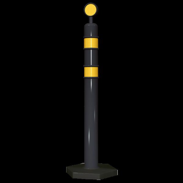 Código: R-1145 Poste especial para usarse en zonas de obra, accidentes, canalizar o confinar carriles, en eventos, etc. Con dos franjas de reflejante. Incluyen cabeza desmontable circular y base hexagonal de gran estabilidad y resistencia al viento. Fabricado en polietileno de media densidad con U.V. Medidas: Poste: Diámetro: 9.5 cm., Alto:114.0 cm. Base: Diámetro: 40.0 cm., Alto: 8.0 cm. Color: negro. Reflejante: blanco o ámbar.
