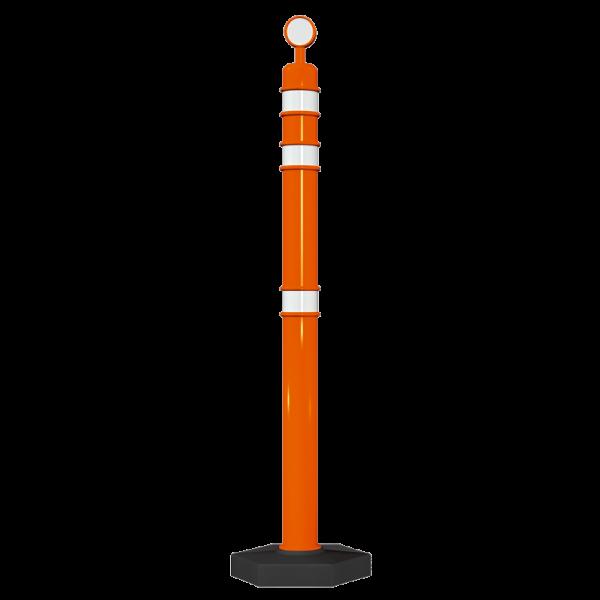 Código: R-1530 Poste de gran altura especial para usarse en zonas de obra, accidentes, canalizar o confinar carriles, en eventos, etc. Con tres franjas de reflejante. Incluye cabeza desmontable circular y base hexagonal de gran estabilidad y resistencia al viento. Fabricado en polietileno de media densidad con U.V. Medidas: Altura: 153.0 cm. Base hexagonal: 39.0 cm. Colores: naranja o negro. Reflejante: blanco o ámbar.