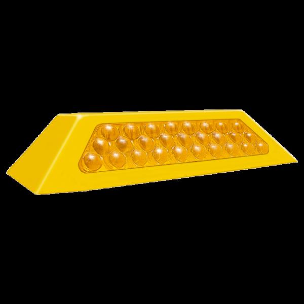 Código: TP-30-ABS El tope de mayor desempeño. Cuerpo completamente sólido para hacerlo un excelente reductor de velocidad. Con 27 esferas reflejantes. Fabricado en ABS con U.V. Pernos plásticos opcionales. Medidas: Largo: 25.0 cm. Ancho: 10.5 cm. Alto: 4.5 cm. Color: amarillo Esferas reflejantes: ámbar o rojo.