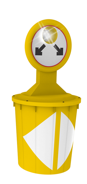 Código: Absorb 400 Novedoso absorbedor de impactos, se utiliza en cuchillas de entrada y salida de carreteras y vías de alta velocidad, principalmente para proteger estructuras como puentes, postes y señales verticales. Con base al espacio disponible y a la cantidad de elementos que se acoplen (módulos universales), se puede llegar hasta el Nivel de Contención NC-3 conforme a la Norma NOM-008-SCT2-2013. Cada módulo consta de un contenedor con capacidad de 400 lt., en su interior se aloja un segundo contenedor flexible que se llena con agua hasta un nivel de 70 cm. dejando espacio vacío (sin agua) en su interior para que el agua se pueda desplazar en el interior del contenedor cuando el módulo es impactado. La protección del contenedor exterior con el contenedor interior crean una barrera que impide que los rayos del sol penetren evitando la formación de bacterias en el agua, por lo que el agua se puede conservar durante años sin tener que cambiarla. Los contenedores interiores se cierran herméticamente gracias a una válvula de seguridad y llenado diseñada para que cuando hace calor el agua se evapore dentro del contenedor interior sin que haya fugas de vapor de agua, cuando baja la temperatura durante la noche, el vapor de agua se condensa y el agua recupera su volumen original. Los contenedores exteriores del Absorb 400 tienen 12 refuerzos estructurales anti-deformación que incrementan la resistencia de los contenedores. El módulo principal cuenta con una lámpara de alimentación solar con 4 secuencias de destellos que lo hacen visible a gran distancia. Como elemento complementario de ensamble del Absorb 400, se recomienda integrar un grupo de hitos flexibles que al ser atropellados no dañan a los vehículos pero generan una fuerte señal audible de advertencia. El módulo principal tiene espacio para rotular las señales con vinil reflejante. Las tapas se fijan a los contenedores con una serie de pernos de seguridad que evitan el desprendimiento de las tapas por efecto